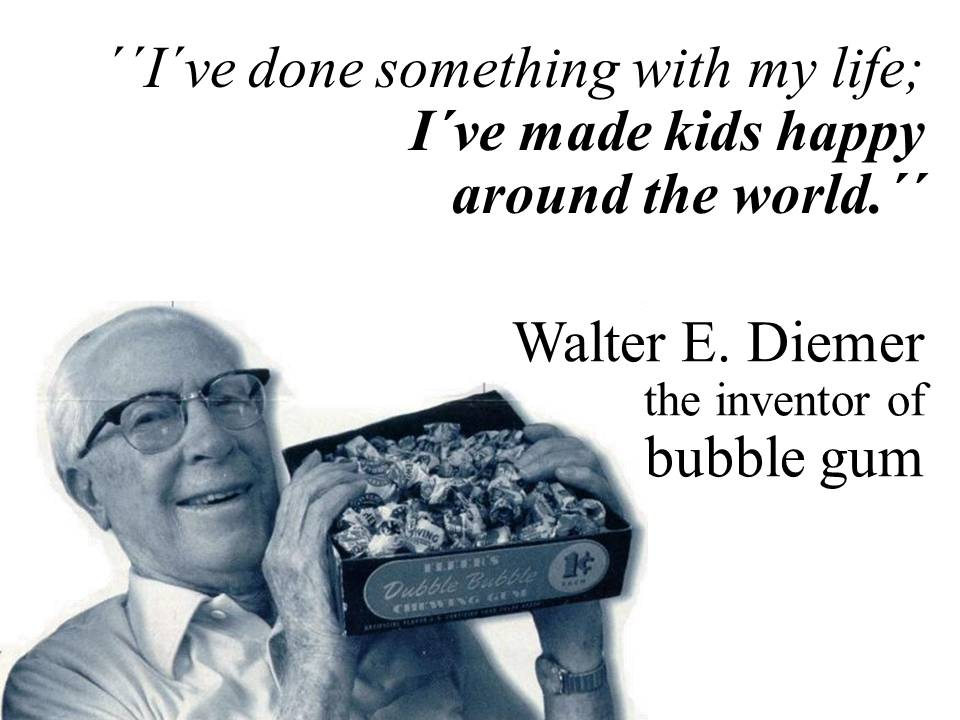 walter diemer Walter e diemer, who accidentally invented bubble gum while testing recipes in 1928, is dead at 93diemer's invention, developed when he was a 23-year-old accountant.